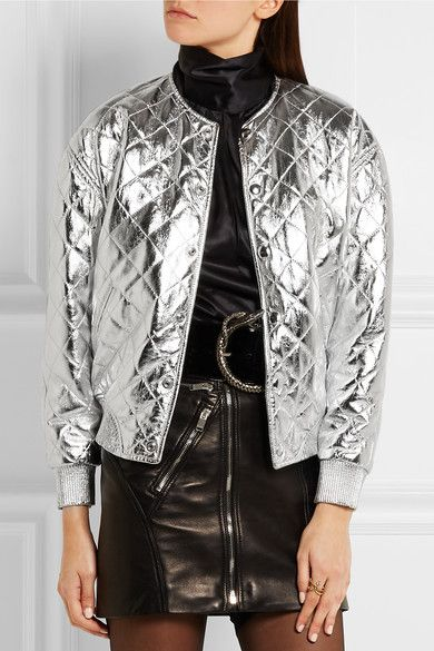 Saint Laurent | Quilted metallic leather bomber jacket | NET-A-PORTER.COM