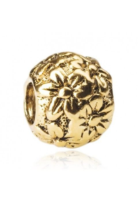Pandora Flower Bead Gold Blooming Pandora creates a unique beautiful life for you and celebrate every wonderful moment in life. Add some flower power to your Pandora collection with this brilliant 14k gold Pandora Flower Power bead. 14 Karat Gold.
