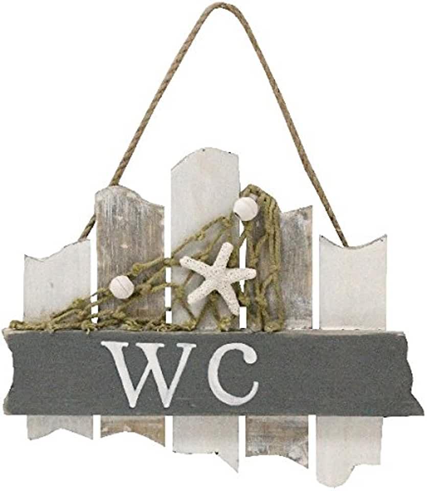 WC Badezimmer Schild 18 cm mit Netzt Muschel und Seestern Beach Maritim | findegut.de