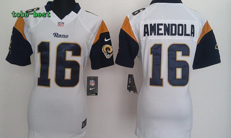 NFL Women New Nike St.Louis Rams 16 Amendola White Game Jerseys