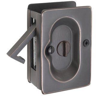 Emtek 2102us10b Oil Rubbed Bronze 3 1 2 Inch Height Solid Brass Privacy Pocket Door Lock Pocket Door Hardware Pocket Door Lock Pocket Door Pulls