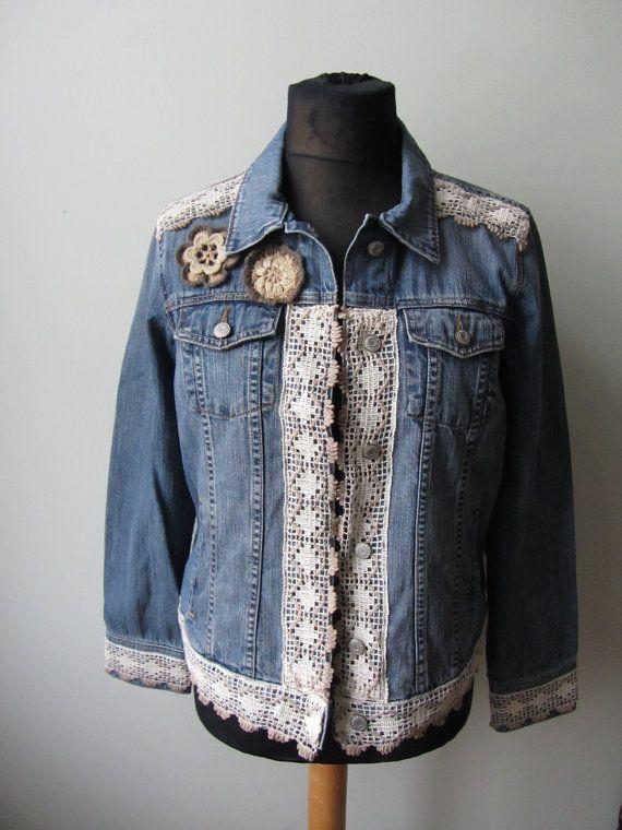 Upcycled Boho Denim Jacket Denim Jacket With Lace And