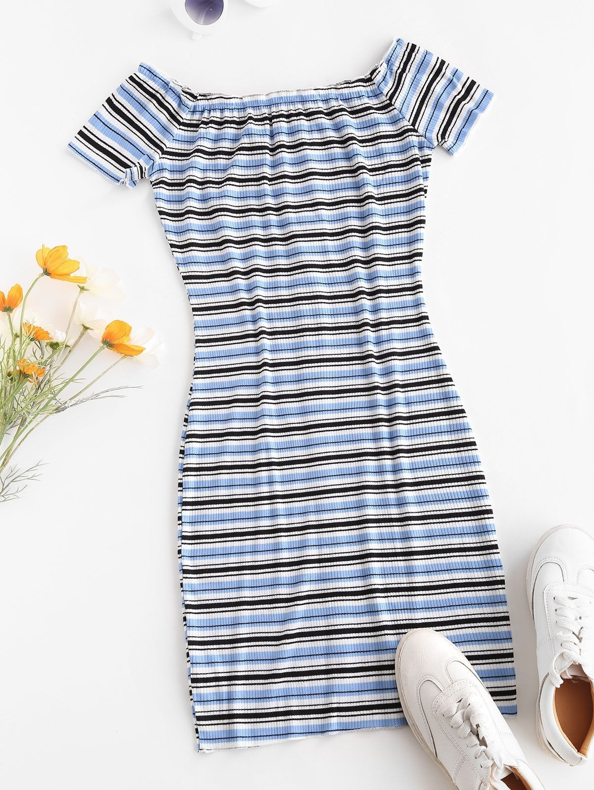 Off The Shoulder Ribbed Striped Bodycon Dress Blue Light Pink Striped Bodycon Dress Bodycon Dress Blue Dresses [ 1596 x 1200 Pixel ]