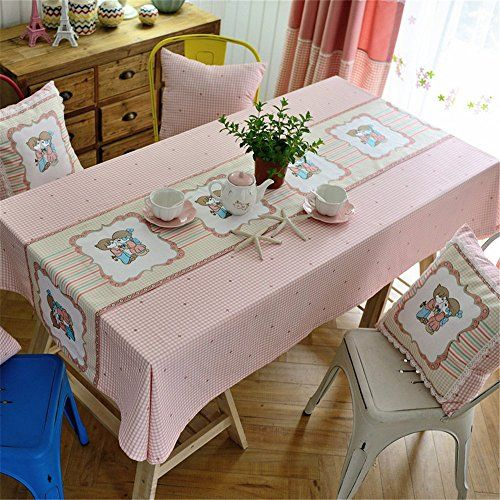 Hoomy Plaid Design Dinning Table Cloth Pink Polyester Tablecloths For Rectangular Table Modern Parties Table Cover Dinning Table Rectangular Table Table Covers