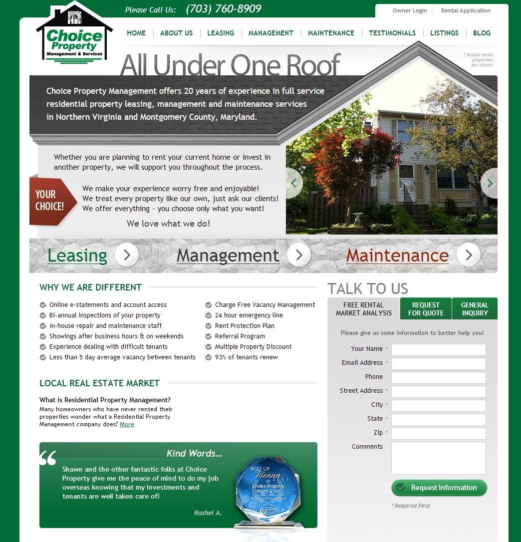 Virginia Property Management Company Website Design Web Design Firm Real Estate Website Website Design