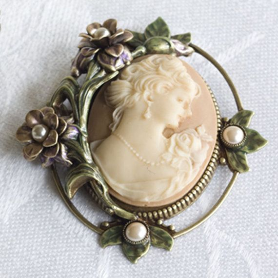 Cameo Brooch Cameo Pin Cameo Jewelry Cameo by ShelleyCooperJewelry