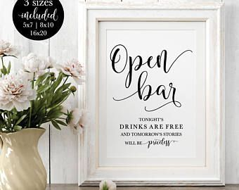 Open Bar Wedding Sign Modern Calligraphy Alcohol Signage Rustic Reception Printable Decorations