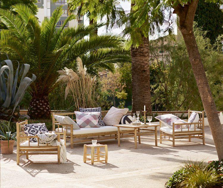 Einfache Dekoration Und Mobel Gartenmoebel Fuer Die Neue Saison #15: Skandinavische Terrasse Einrichten-bambus-möbel-gartenmöbel-kissen