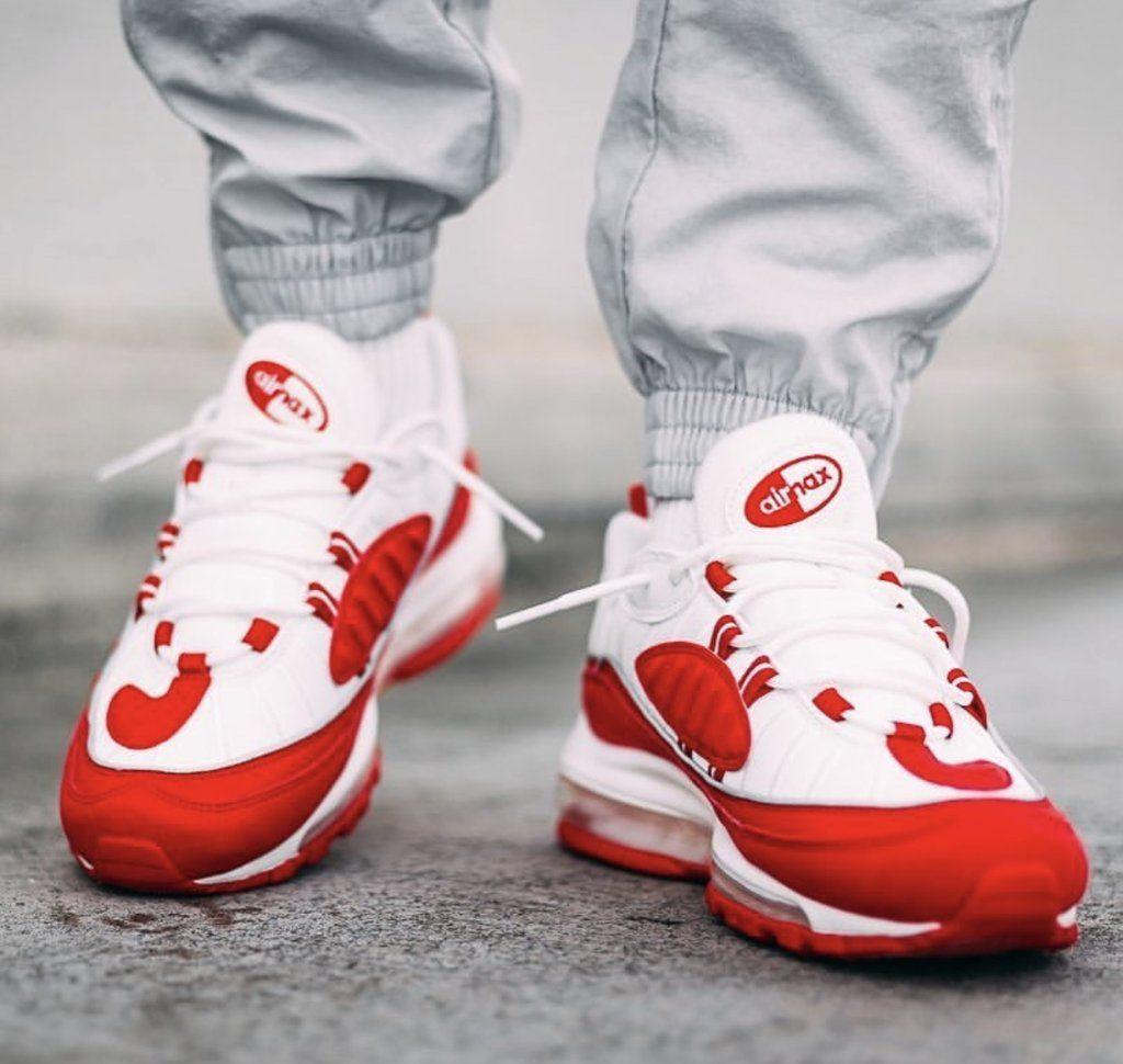 318e1ba289 Nike air max 98 white red in 2019 | FUN SHOE-BUSINEZZ..... | Nike ...