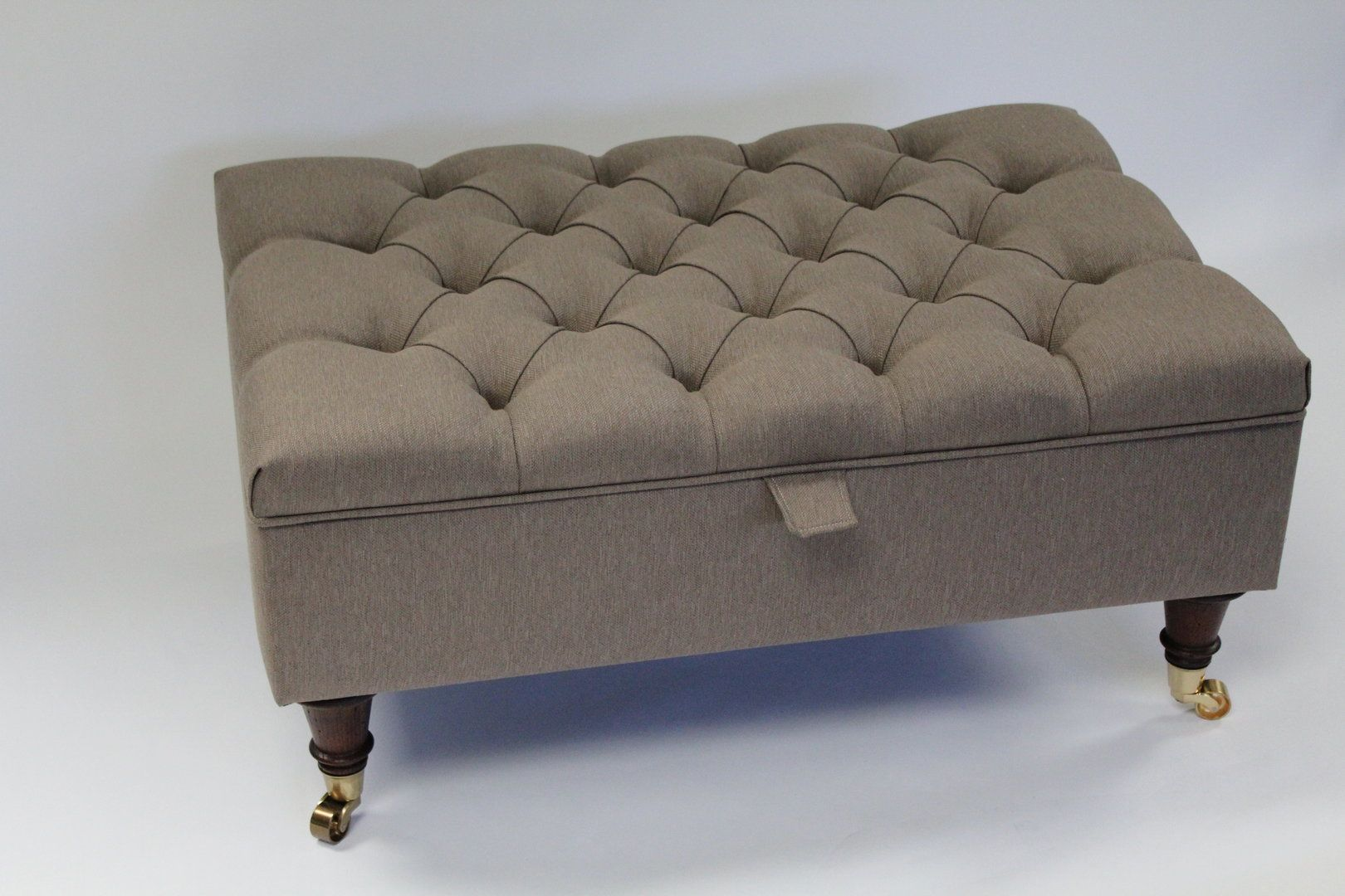 Light Brown Linen Chesterfield Upholstered Coffee Table Storage Ottoman Footstool Simply Chaise 199