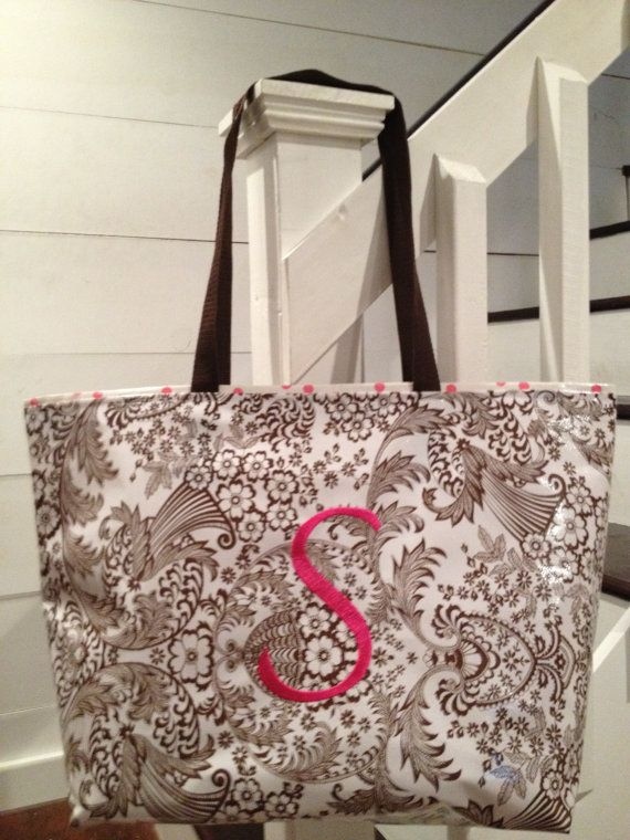 b54fb5a963 Large Brown Floral Toile with Pink Polka Dot Monogrammed Oilcloth Tote Bag    Beach Bag   Waterproof Bag