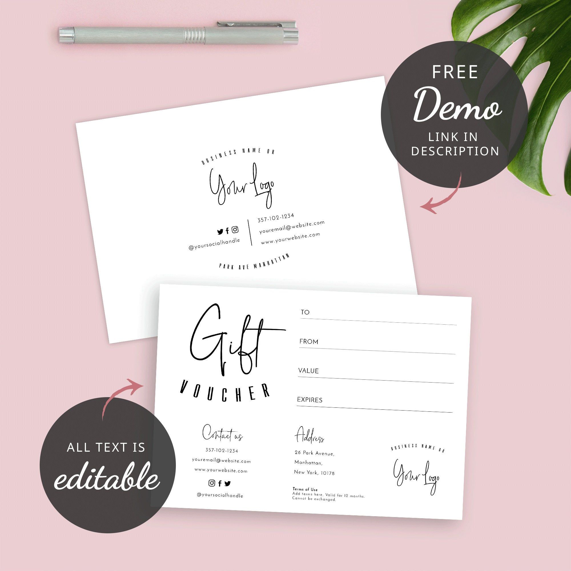Printable Gift Voucher Template Editable Gift Certificates Etsy Business Thank You Cards Printable Gift Gift Certificate Template