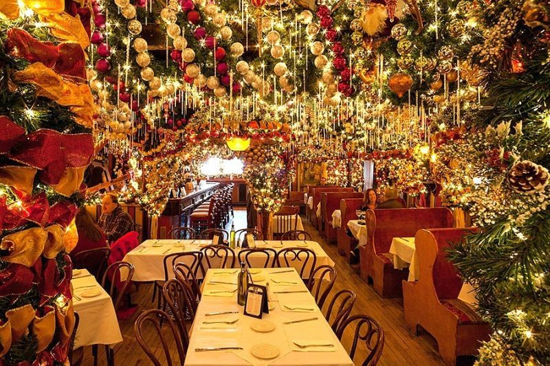 This Nyc Restaurant Puts Up 60 000 Worth Of Christmas Ornaments Nyc Christmas Nyc Ornament Christmas Wonderland