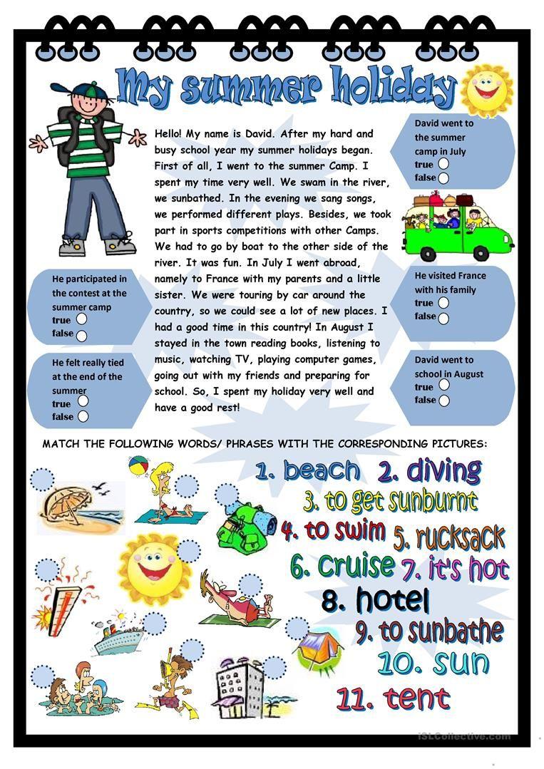 My summer holiday worksheet - Free ESL printable worksheets ...