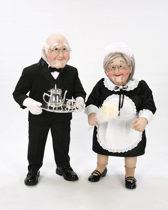 Mini Maid and Butler Couple Art Soft Sculpture Life Size Sized Doll #dollcare Mini Maid and Butler Couple Art Soft Sculpture Life Size Sized Doll #dollcare