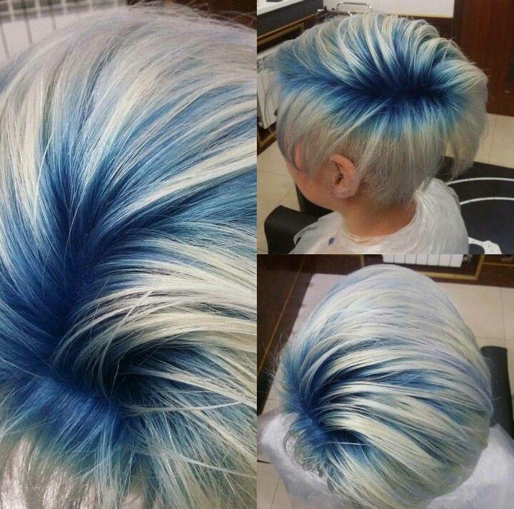 Blue Roots Short Blue Hair Hair Styles Short Hair Styles
