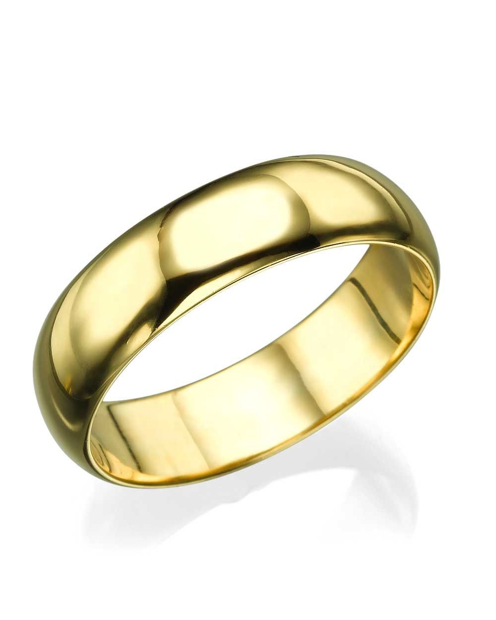Yellow Gold Wedding Ring 5 6mm Rounded Plain Band Products