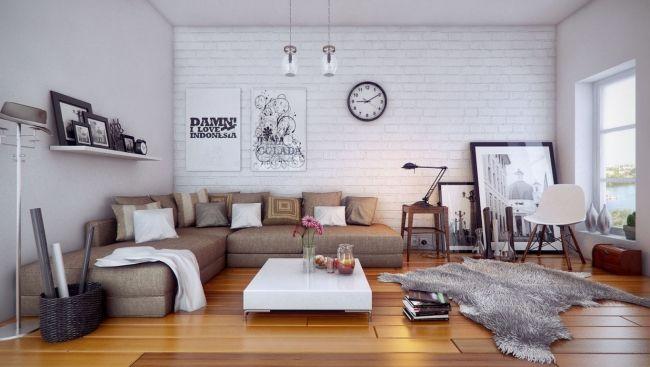 Gemütliches Wohnzimmer-Möbel Kuhfell-Teppich Arcasso Pendelleuchte ...