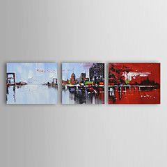 peinture à l'huile ensemble abstrait moderne de 3 main toile peinte avec étiré encadrée
