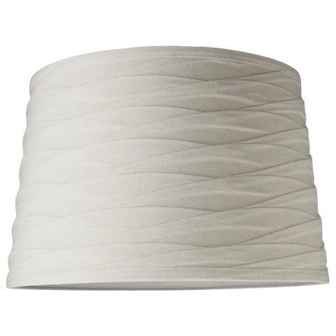 Linen overlay modified drum lamp shade ivory threshold