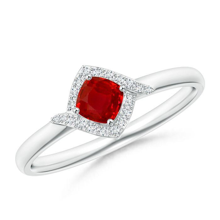 Angara Square Blue Sapphire Framed Diamond Halo Promise Ring in Rose Gold Pbq8Xw