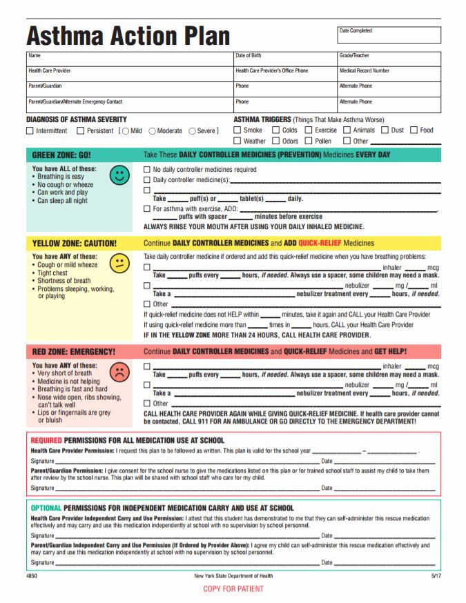 Asthma Action Plan form Best Of Staten island Pps Website ...