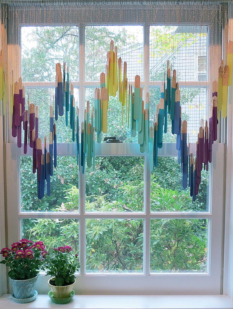 Cute Window Treatment Made With Craft Sticks Home Decor Design Pinterest Window