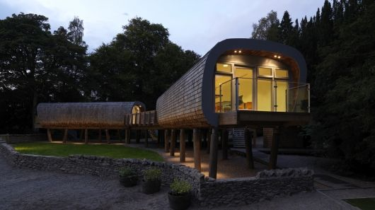"Recently opened, the Forest School (Elleray Preparatory School) in the Lake District National Park, has three green-built class pods that stand on stilts and make good use of ""green"" materials and technologies."