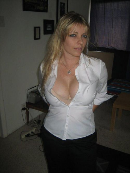 In tight white shirt blonde sexy