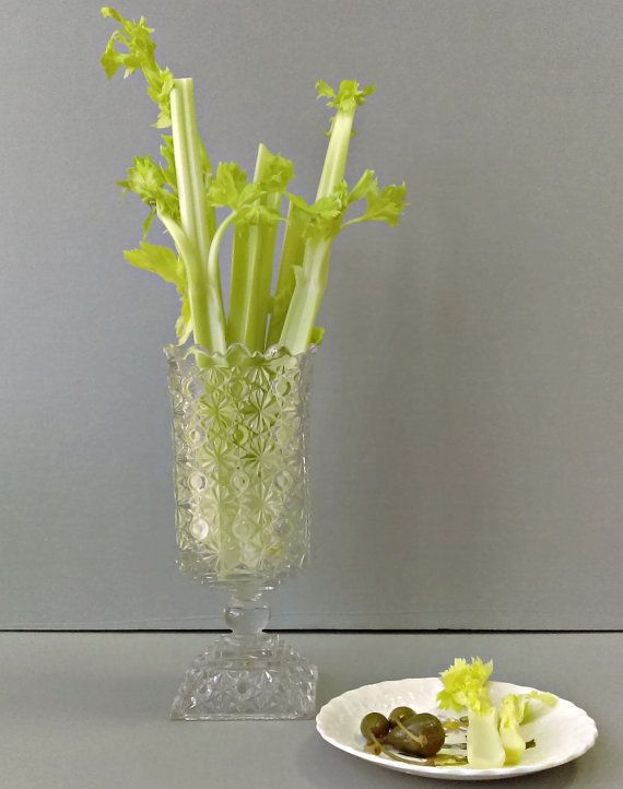 Vintage Cut Glass Celery Vase Delightful Depression Glass