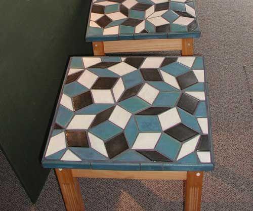 geometric tile table