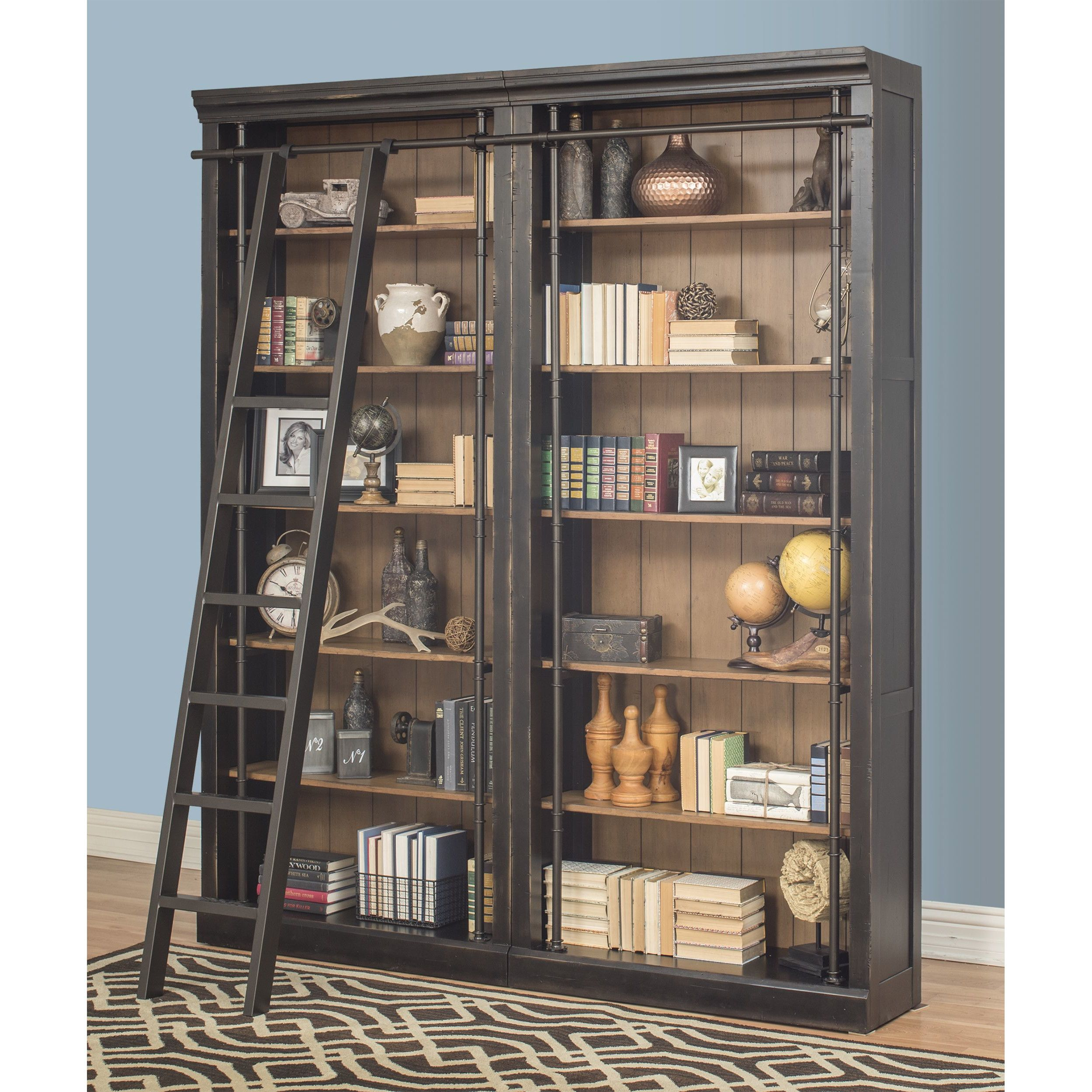 August grove sigrid oversized bookcase set with rolling ladder for