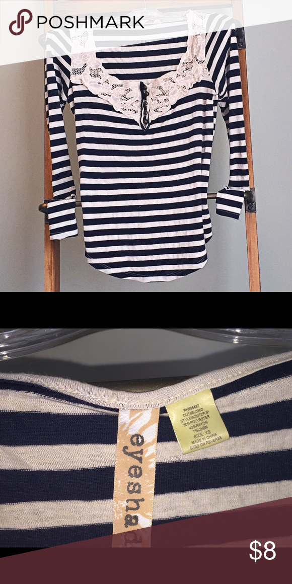 Eyeshadow top. Crochet detail around collar. XS Navy blue and cream stripes. Long sleeve. Lightweight. Tunic fit Eyeshadow Tops