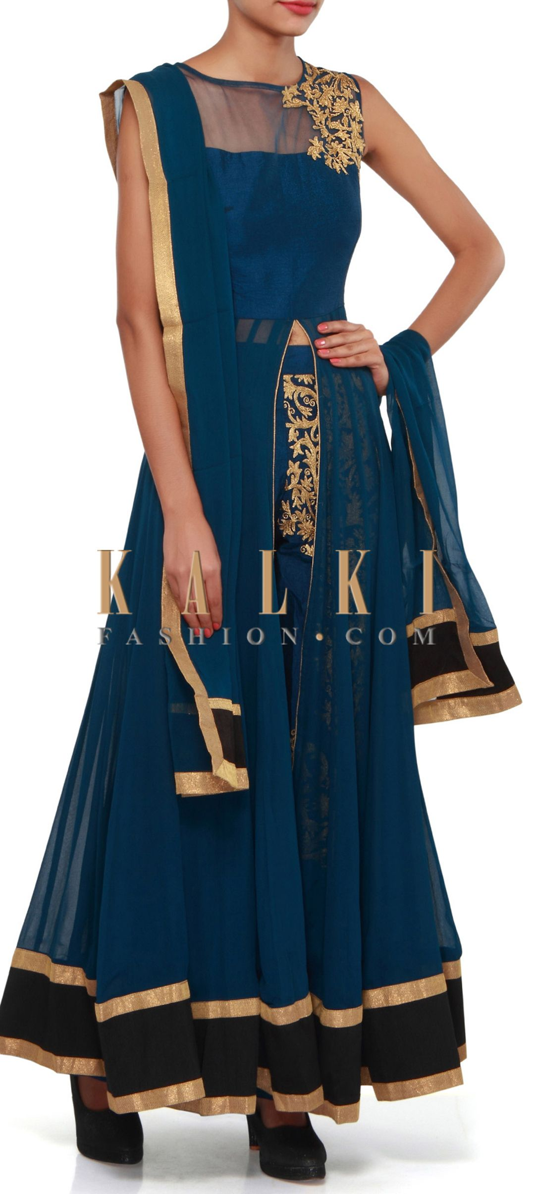 Buy Online from the link below. We ship worldwide (Free Shipping over US$100). Product SKU - 308392.Product Link - http://www.kalkifashion.com/navy-blue-anarkali-suit-adorn-in-aari-embroidery-only-on-kalki.html