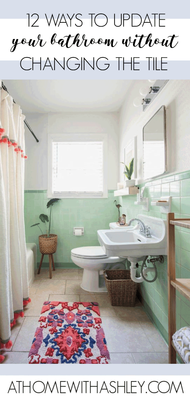 How To Update A Bathroom Without Changing The Tile Blue Bathroom Tile Bathroom Update Old Bathroom [ 1316 x 630 Pixel ]