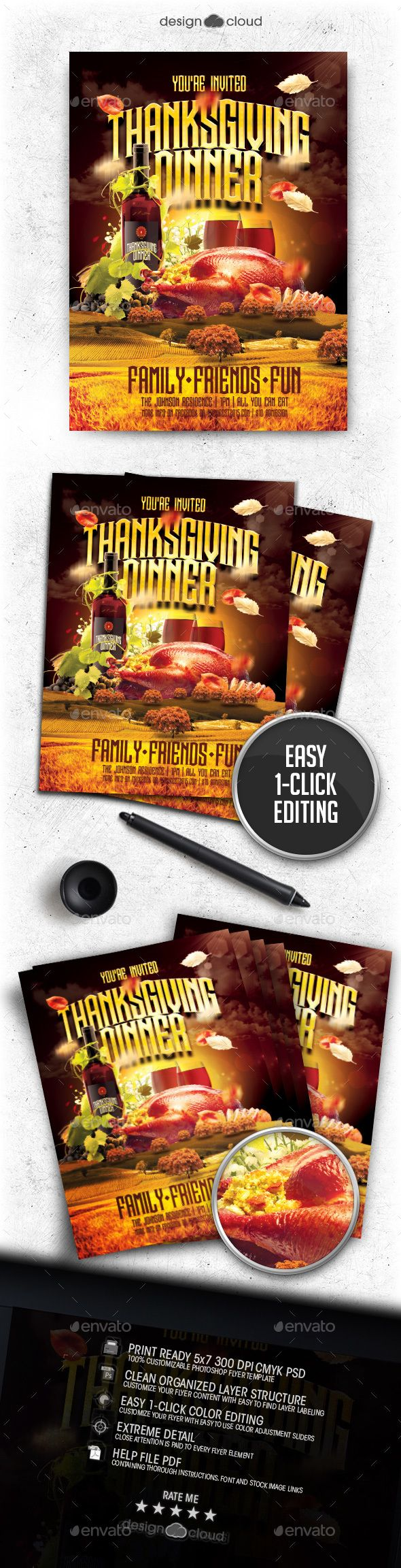 Thanksgiving Dinner Invite Flyer Template Vol  This Fully