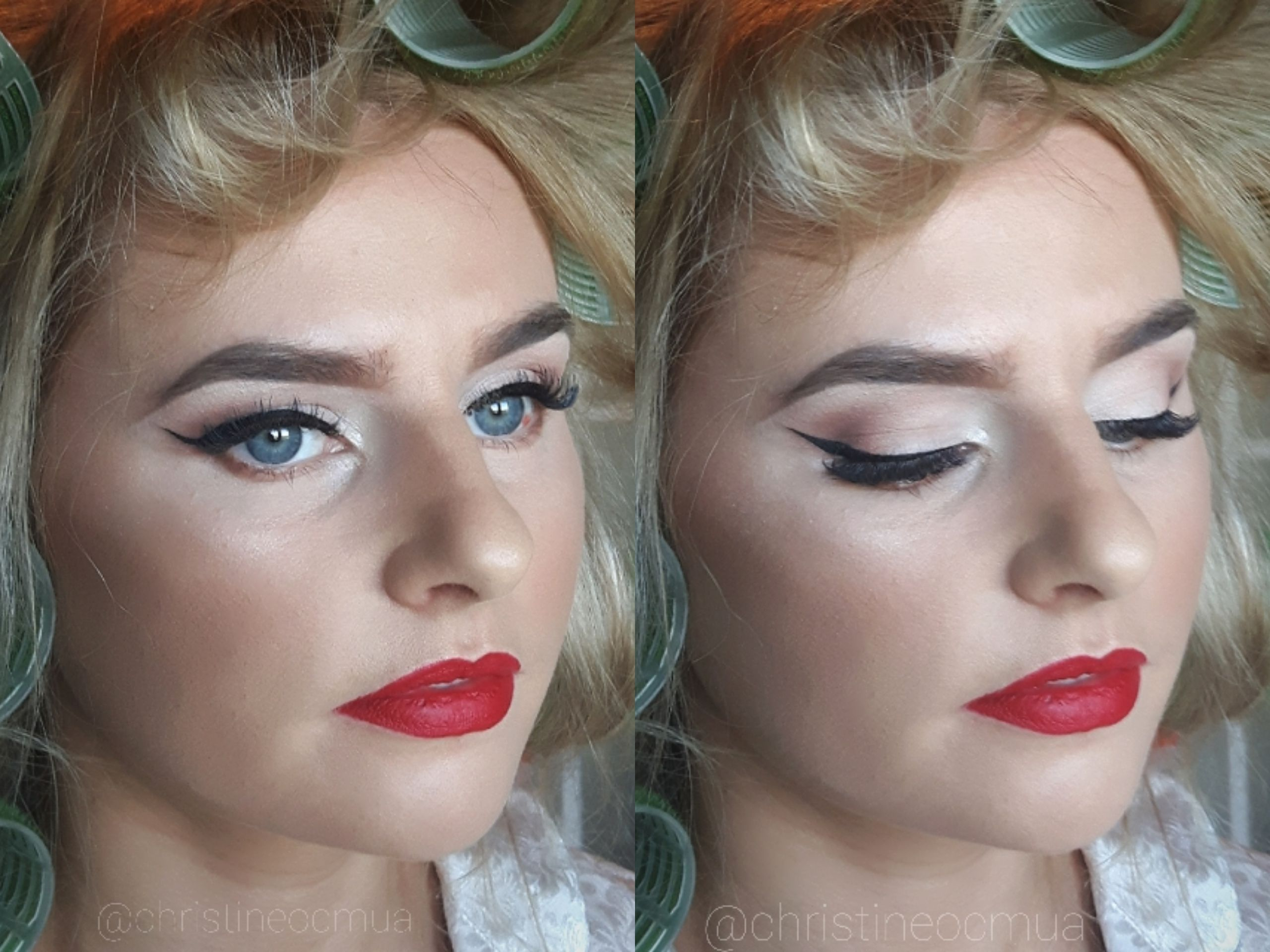 Glamorous bridal / bridesmaid makeup for blonde / blue