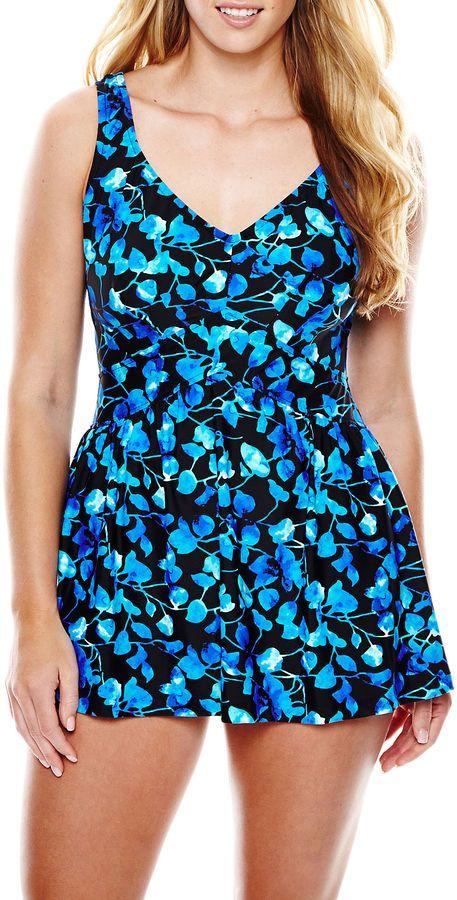 61706410dbbcc AZUL BY MAXINE OF HOLLYWOOD Azul by Maxine of Hollywood Print 1-Piece  Swimdress - Plus