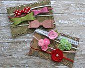 Wool felt flower headband baby girl newborn by InspiredbyZoelle