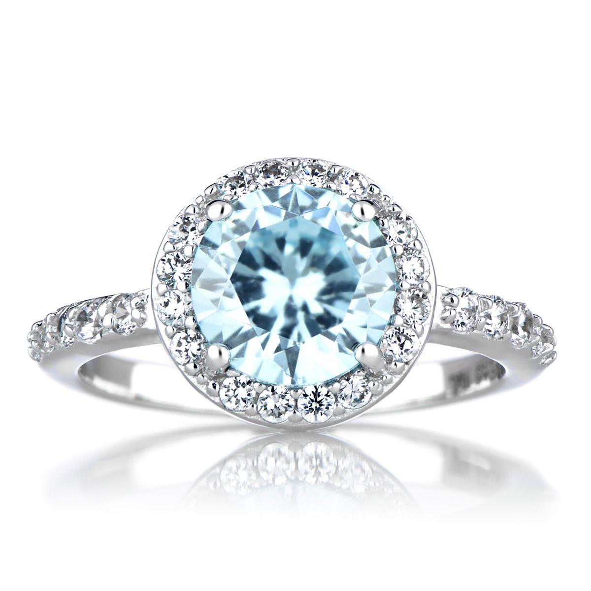 Silvertone December Blue CZ Imitation Birthstone Ring December
