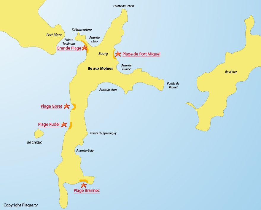 Préférence Plan des plages de l'Ile aux Moines (Golfe du Morbihan)   56  WF55