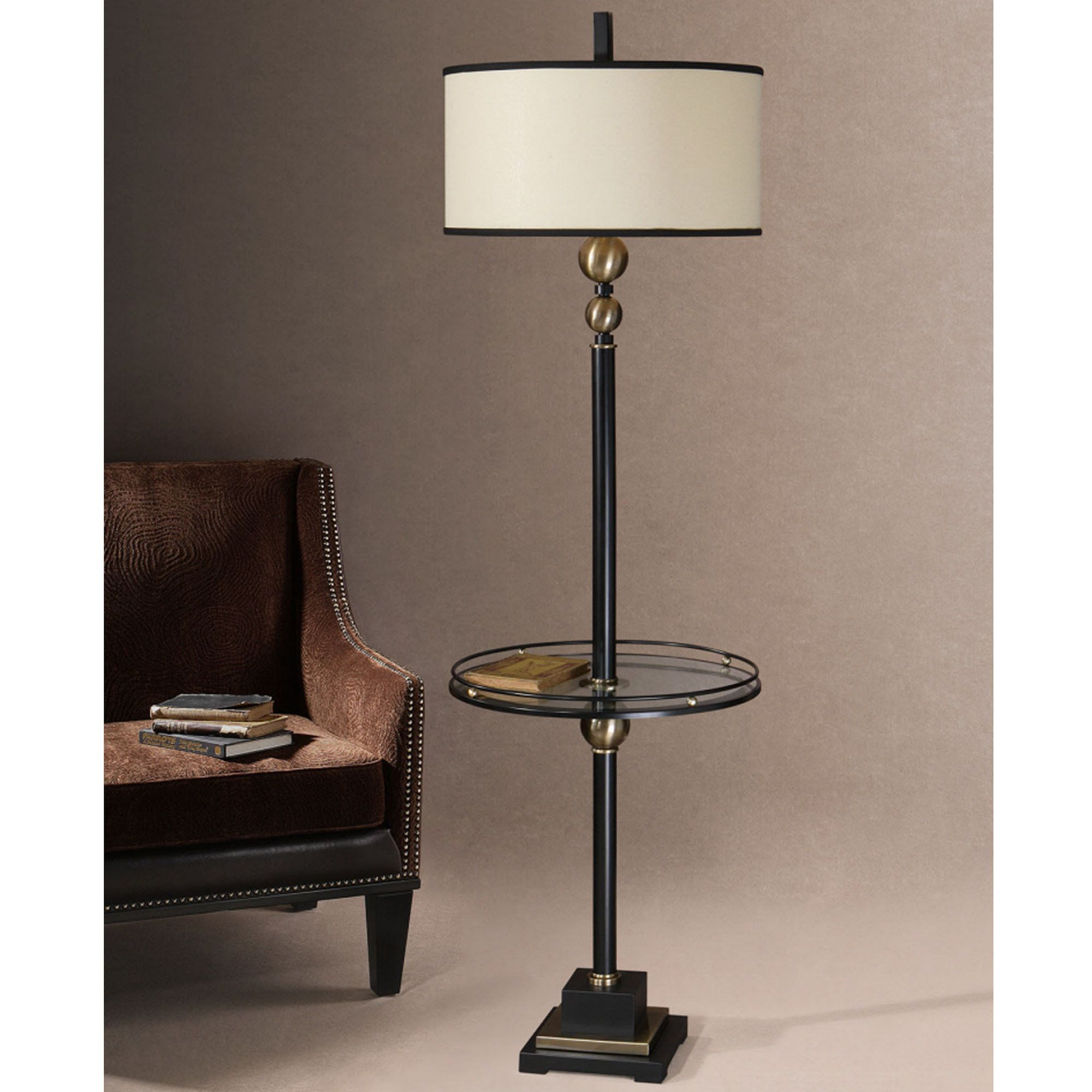 Joaquin Floor Lamp With Attached Glass Table Bodenlampe Lampentisch Rote Stehlampe