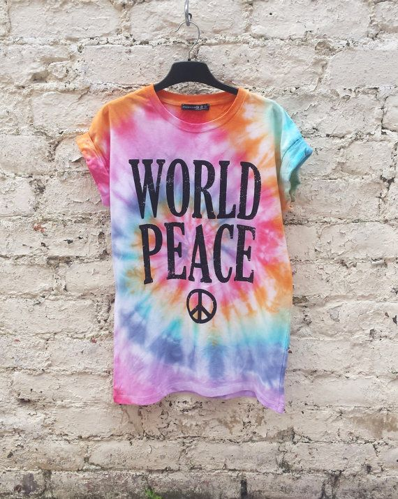 cd5c7949ac88 Hippie Tie Dye Festival Shirt Rainbow World Peace Tumblr Hipster Music  Festival Trippy Psychedelic Tshirt to fit UK size 10 US size 6