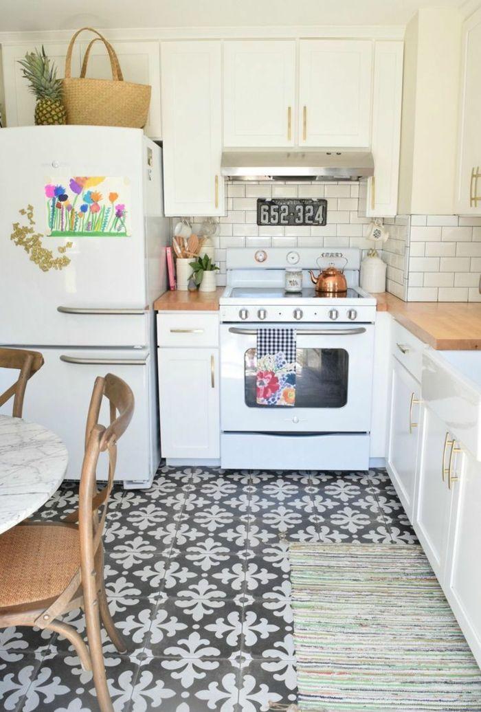 retro fliesen bodenbelag küche weiß schwarz Interieurdesign - bodenbeläge für küche