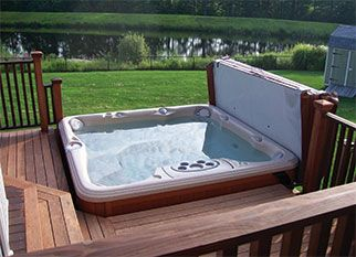 Gorgeous Recessed Hot Tub Into A Deck Installation Hot Tub Deck Hot Tub Backyard Hot Tub Cover