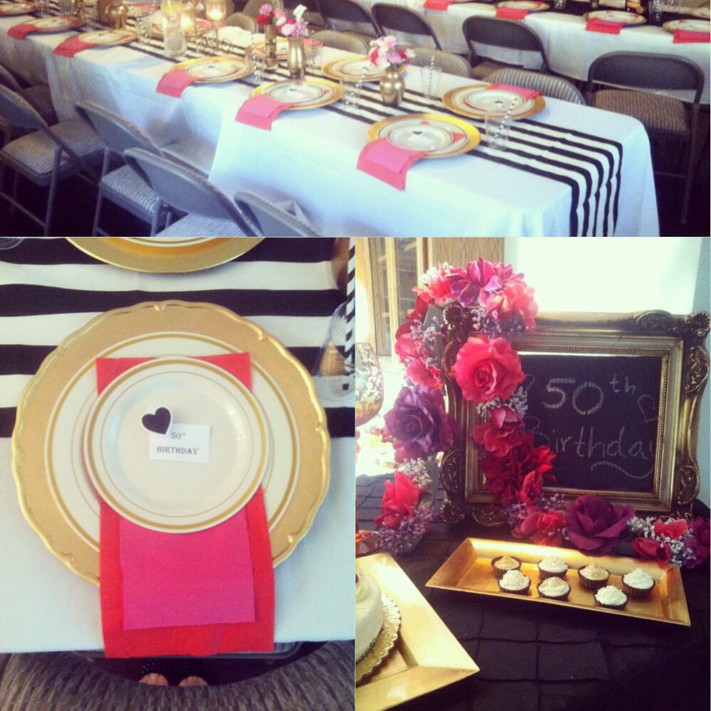 Black and white stripe charger plates - Black White Stripes Table Runner With Gold Vases Charger Plates Flower Combo