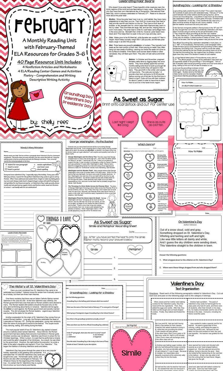 Reading comprehension passages and questions february reading unit february readingela unit informational text and worksheets on valentines day groundhog day ibookread Download