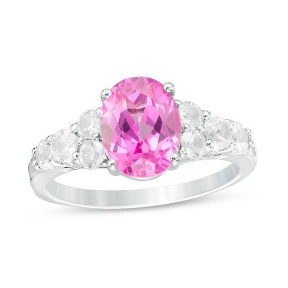 Zales Oval Lab-Created Pink Sapphire and 1/6 CT. T.w. Diamond Split-Shank Ring in Sterling Silver GMKfdK