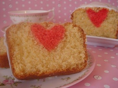 Heart Inside Valentines Cake from butter hearts sugar