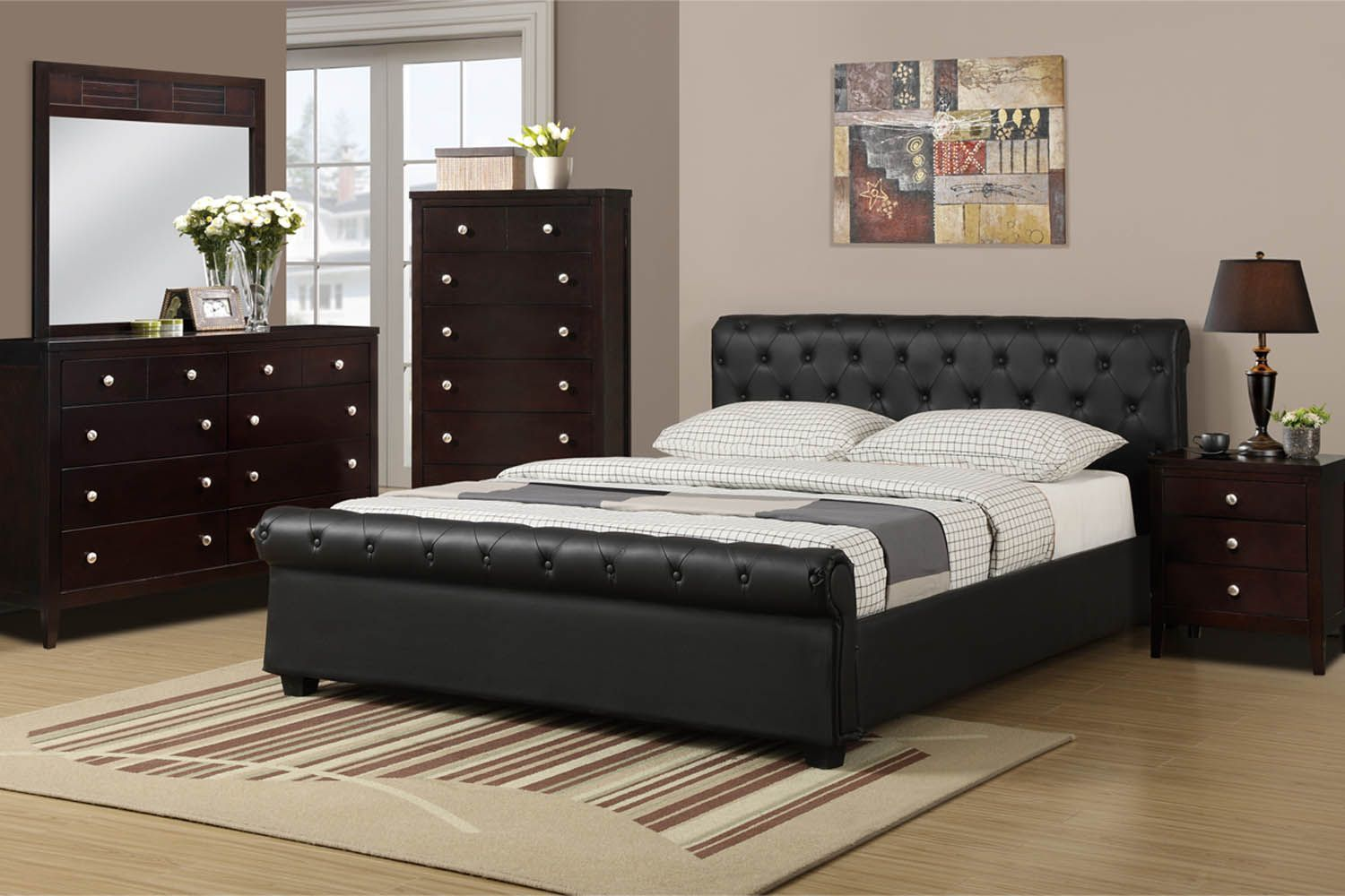 leather black queen bed frame with nightstand and dressers mirror ...